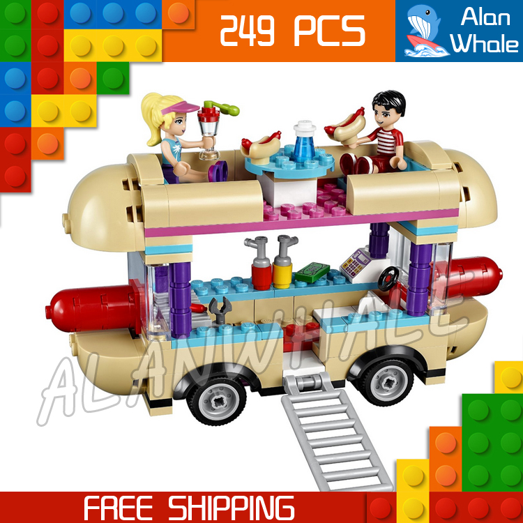 249pcs Friends 10559 Girls Princess Amusement Park Hot Dog Van DIY 3D Blocks AlanWhale T ...