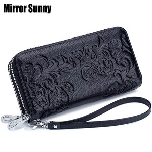 Image 1 - 2020 New Style Womens Wallet Double Zipper Purse Head Cowhide Leather RFID Anti Radio Frequency Scanning Wristband Clutch Bag