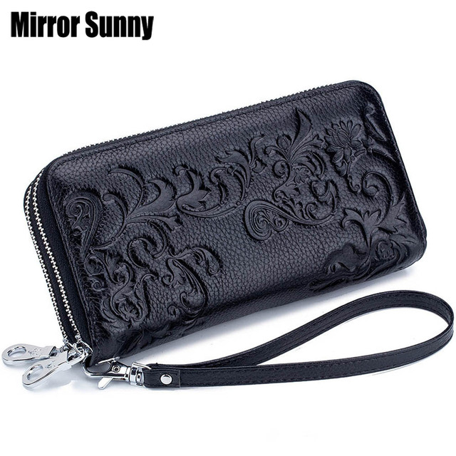 2020 New Style Womens Wallet Double Zipper Purse Head Cowhide Leather RFID Anti Radio Frequency Scanning Wristband Clutch Bag