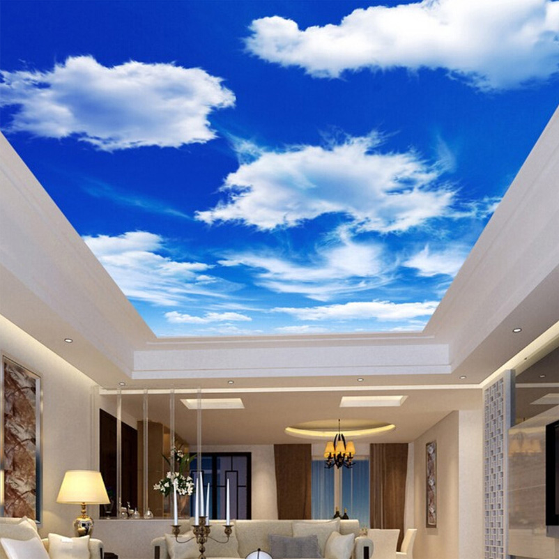 Custom Wall Mural Large Wall Painting Blue Sky And White Clouds Ceiling Wallpaper Murals Living Room Bedroom Ceiling Mural Decor