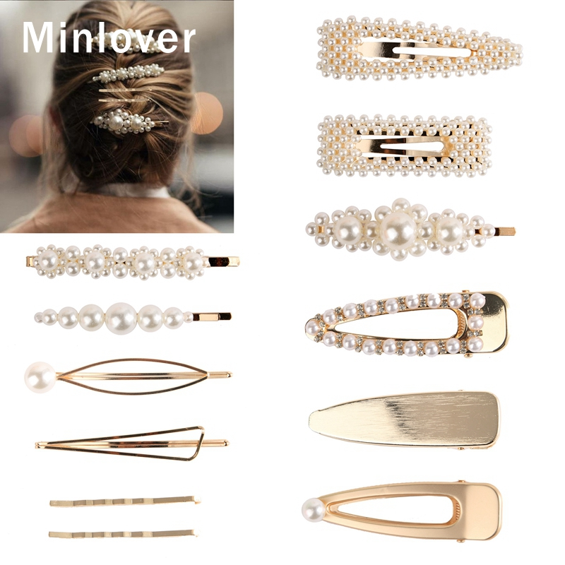 Minlover 3-5pcs/set Simple Simulated Pearl Hair Clips Women Sweet Wedding Hair Jewelry Accessories Barrette Hairpins Sets FJ003