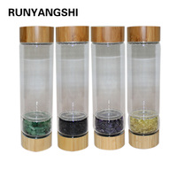 NEW Creative 450ml Natural Crystal stone glass water bottel Healthy Energy Water Cup bamboo quartz Portable