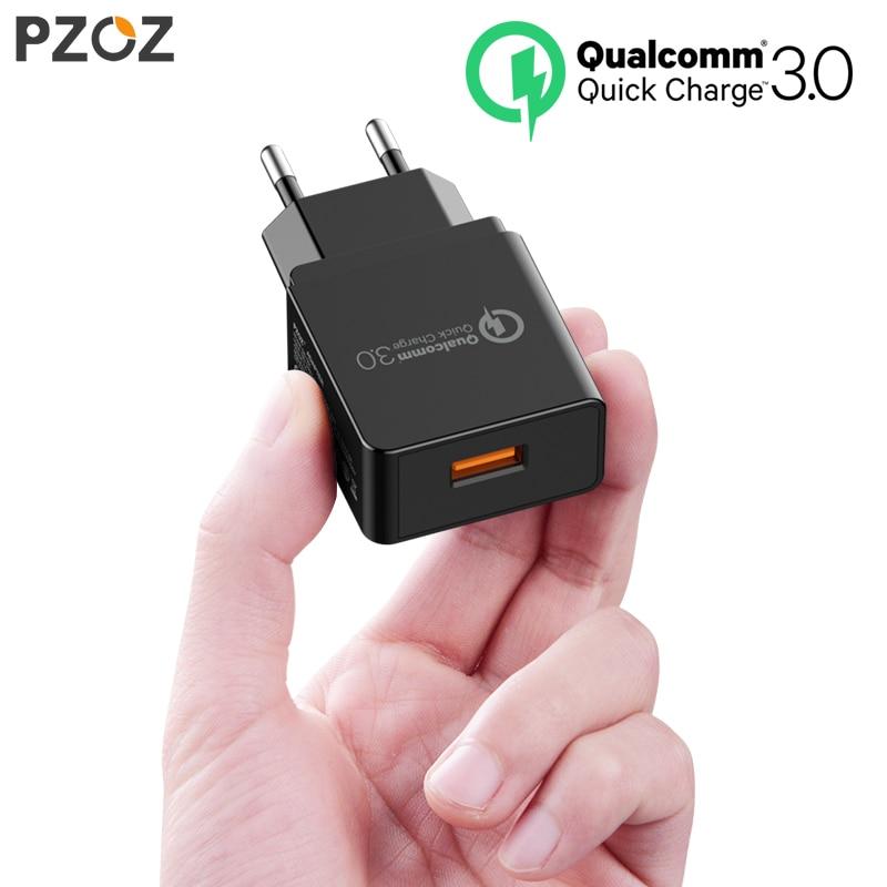 PZOZ Carica Rapida 3.0 Caricatore USB Fast Charger 18 W UE muro usb Adattatore del caricatore portatile Del Telefono Mobile cavo per Samsung Xiaomi