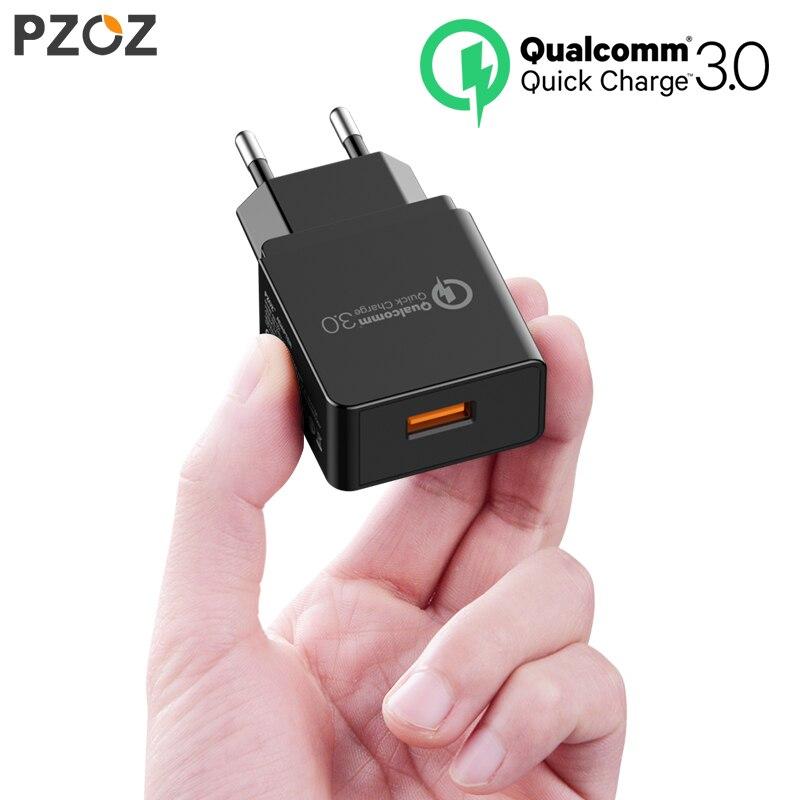 PZOZ Quick Charge 3.0 Carregador USB Carregador Rápido 18 W UE Adaptador de carregador de parede usb portátil cabo de Telefone Móvel para Samsung Xiaomi