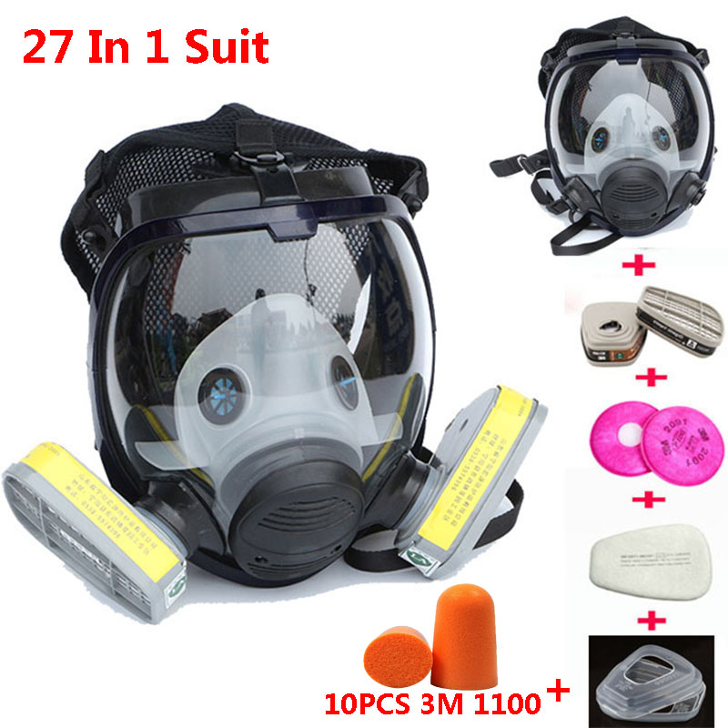 27 In 1 Suit Full Face Industry Gas Mask Spraying Paint Facepiece Respirator Same For 3M 6800 Gas Mask With Anti-noise Earplugs