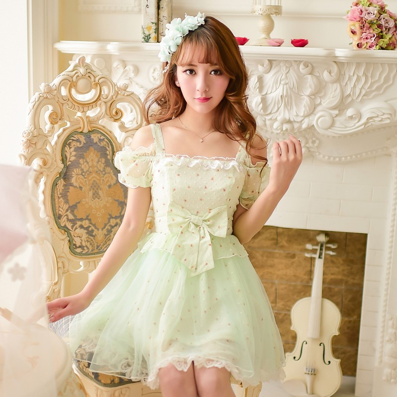 Princess sweet lolita dress Candy rain spring summer Japanese style Sweet Dew shoulder floral lace chiffon