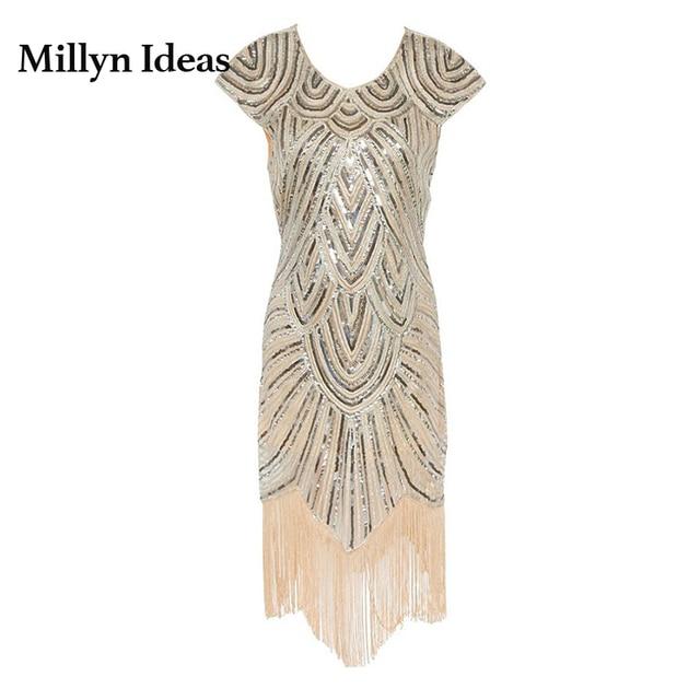 Millyn Ideas Sexy European Brand Dress For Lady Tassel Gold Sparkle