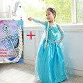 2015 snow queen elsa vestido de los bebés del vestido del traje de Cosplay princesa anna Dress Kids clothes vestido navidad de Halloween para niño