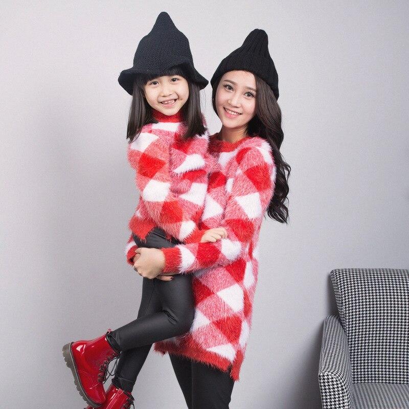 Mère et bébé fille vêtements de haute qualité chandail mère et fille automne hiver vêtements de famille correspondant tenues