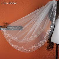 Beaded Fingtertip Bridal Veil Wedding Hair Accessory One Layer With Comb 2016 New Style Real Photo