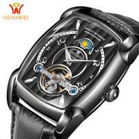Automatic Watch Men Mechanical Watches 2018 Luxury Brand Tourbillon WristWatch Mens Square Skeleton Watch Relogio Masculino