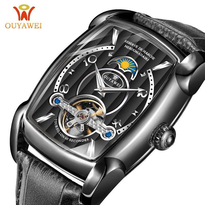 Montre automatique hommes montres mécaniques 2018 marque de luxe montre-bracelet Tourbillon hommes carré squelette montre Relogio Masculino