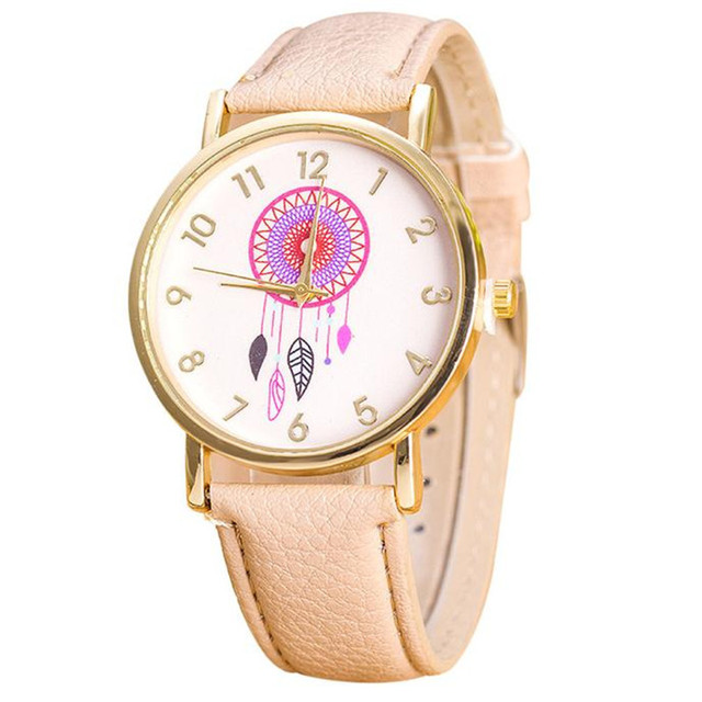 Fashion Women Watches Casual Dress Dreamcatcher Pattern PU Leather Band Quartz W