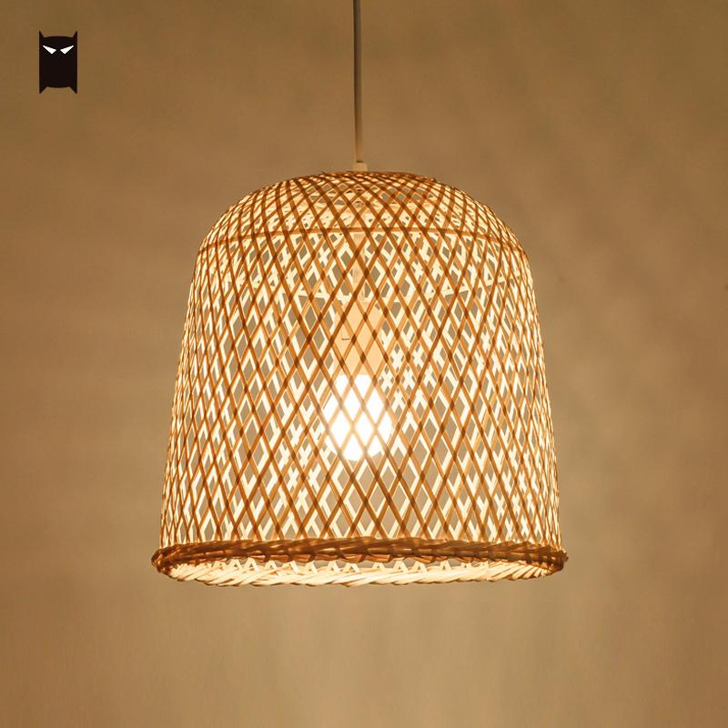 31x30cm Bamboo Wicker Rattan Bell Pendant Light Fixture Country Chinese Asian Hanging Ceiling Lamp Dining Table Room Restaurant natural black bamboo wicker lampshade hat large pendant light antique chinese asian rattan hanging ceiling lamps foyer lighting