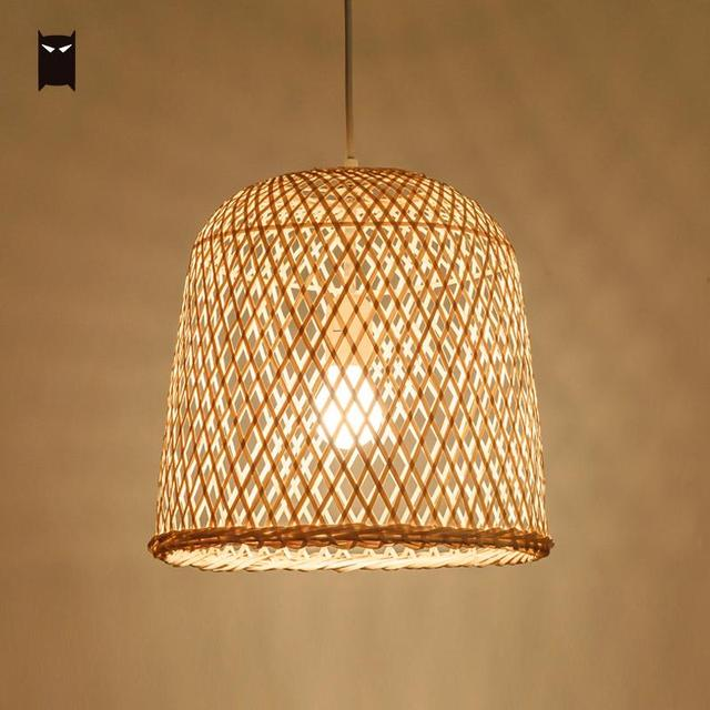 31x30cm Bamboo Wicker Rattan Bell Pendant Light Fixture Country Chinese Asian Hanging Ceiling Lamp Dining Table