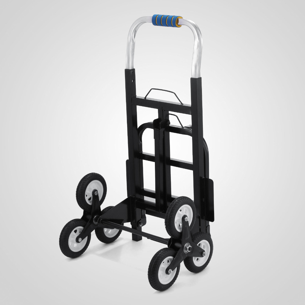 User-friendly Sei Ruote 190 kg 6 Ruota Scala Scalatore Scale di Arrampicata, Pieghevole A Mano trolley Arrampicata Carrello A Mano Trolley