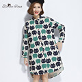 BelineRosa New Spring Women's Blouse Women's Korean Style Sweat Cat Stand Collar Blouse Dresses Women blusas M~XXL XM0034