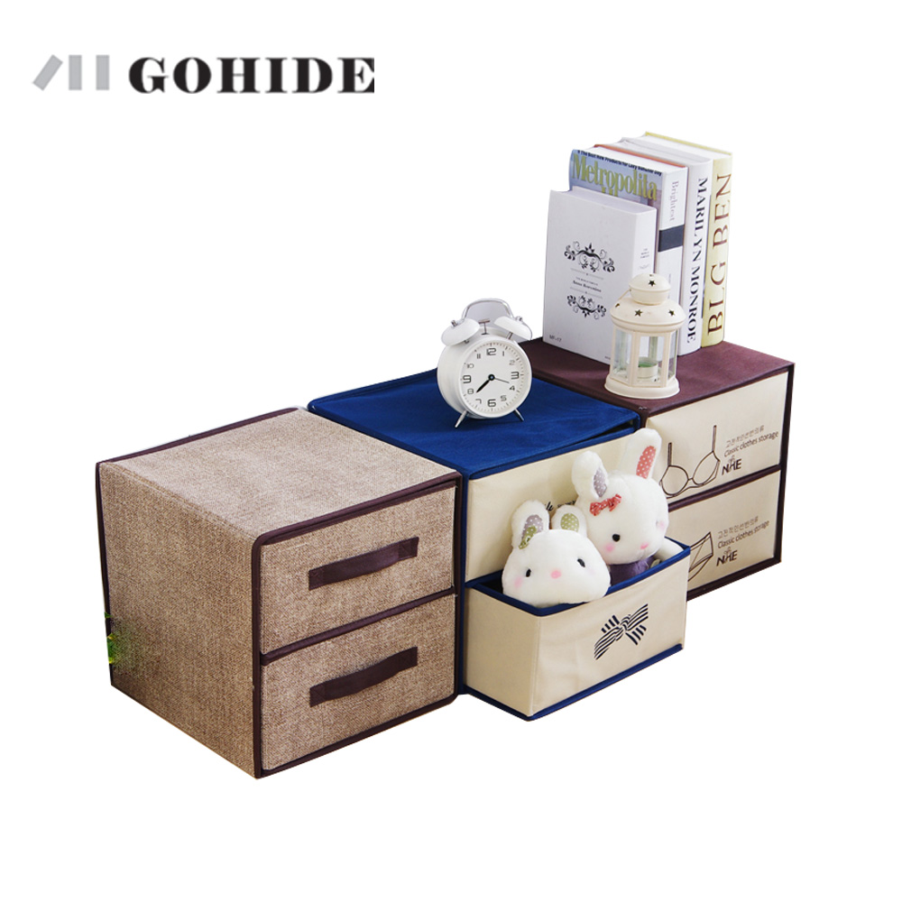GUH Gohide Double Layer Drawer Type Storage Box Wardrobe Clothes Finishing Box 3 Colors For Combination Wardrobe
