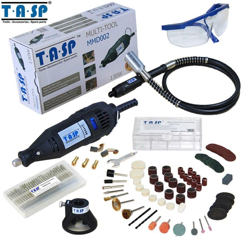 TASP 130W Mini Taladro Eléctrico Herramienta Rotatoria con Eje Flexible y 140 Accesorios Para Herramientas Eléctricas