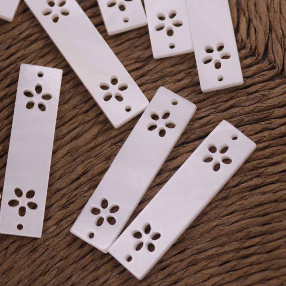 Купить с кэшбэком 10 PCS 7mmX30mm Hollow Flower Shell Rectangle Mother of Pearl Top Hole Loose Beads