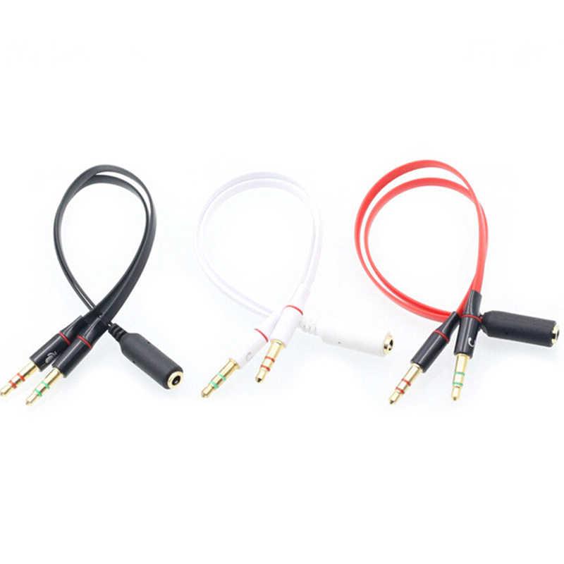 3.5 wtyczka 1 żeński do 2 męski Y Splitter przetwornik combo adapter splitter słuchawki kable Audio słuchawki dla zestaw słuchawkowy z mikrofonem