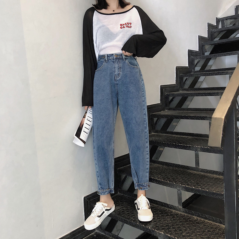 Loose Harem Vintage   Jeans   Woman High Waist Light Blue Boyfriend   Jeans   for Women Slim Pencil Women's   Jeans   Cowboy Pants