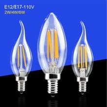 E12/E17 mum lamba 2 W 4 W 6 W LED Lamba kısılabilir filaman COB Ampul Işık 120 V 110 V 100 V Led Işıkları Kristal Avize Aydınlatma