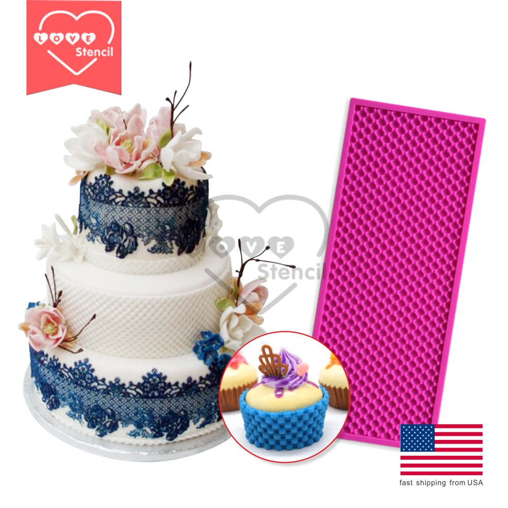 Pearl mat decorative flowers cake decoration silicone lace for 30 cake decoration