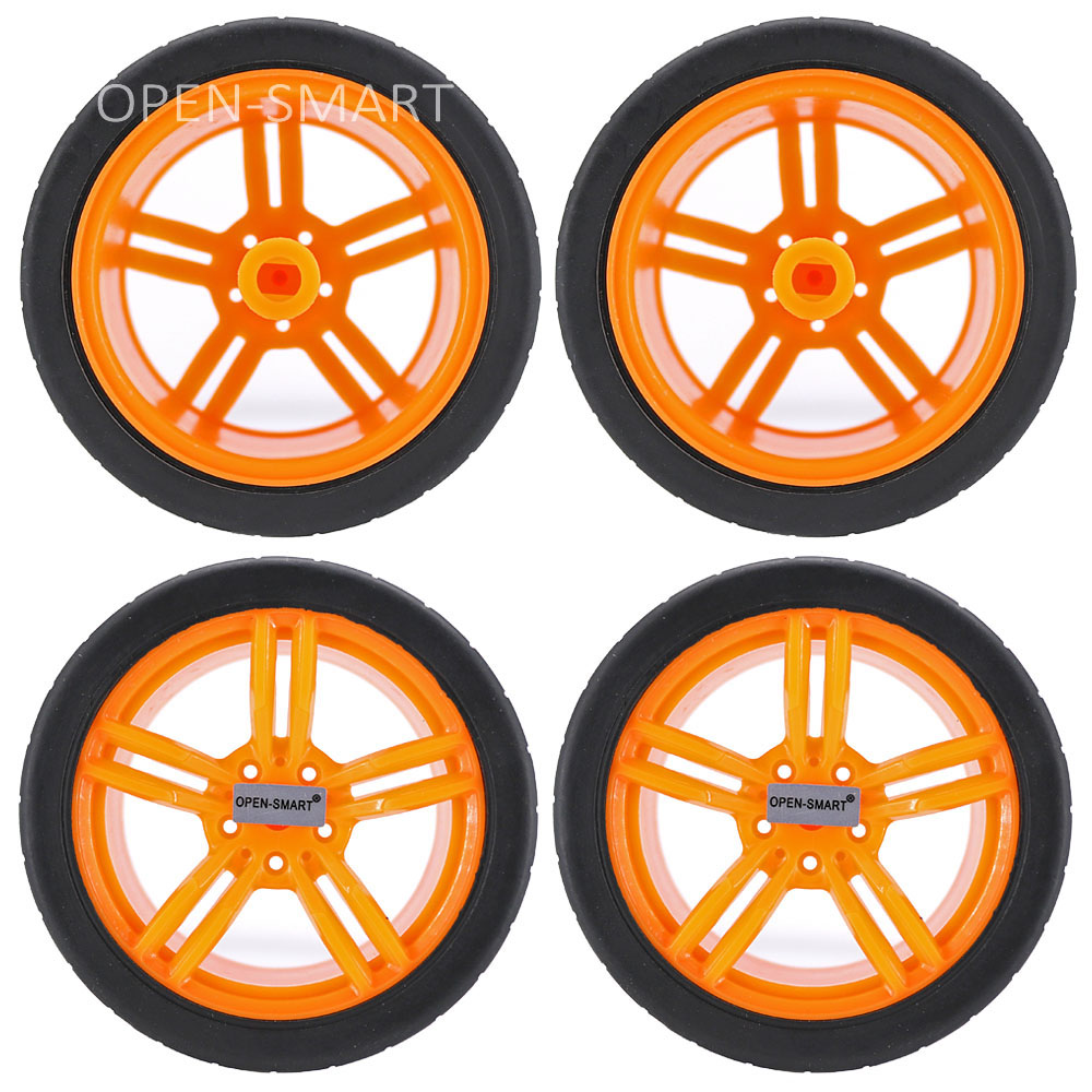 4PCS Black Yellow 65 * 27mm Smart Car Model Wearable Rubber Wheel Tightly Fit With The TT Motor For Arduino Smart Car