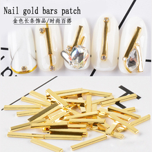 100Pcs/box Nail Art Rivets Gold Charms Metal Rivet 3D Nail Decoration Rectangles Alloy Studs DIY Accessory Manicure Decorations