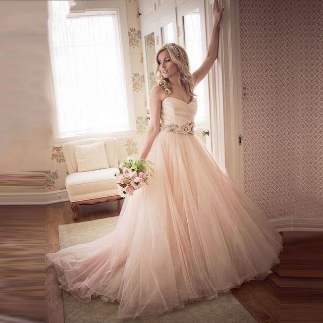 A Tulle Line Floor Length Sweetheart Blush Light Pink Wedding Dress Bride Gowns Vestido De Noiva Robe Bridal Mariage