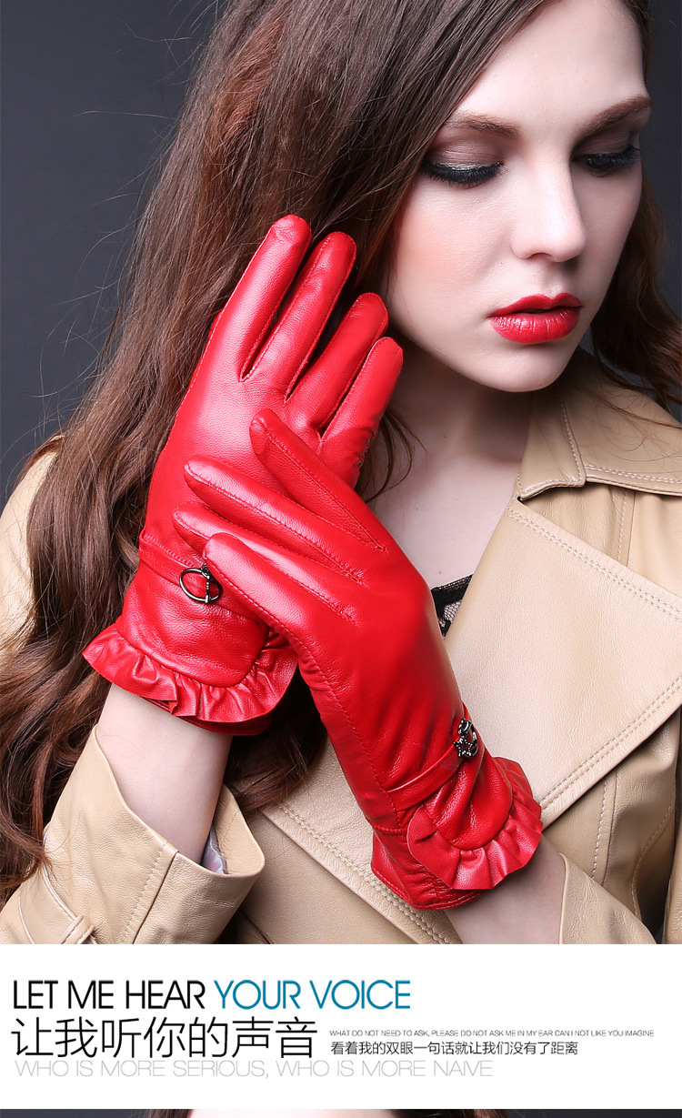 Ladies real leather gloves - Ladies Genuine Leather Gloves Women Autumn And Winter Warm Wool Sheepskin Gloves Female Korean Driving Riding