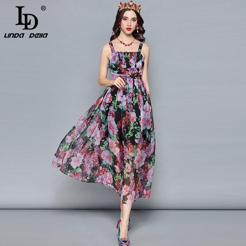 LD LINDA DELLA Mode Designer Sommer Urlaub Kleid frauen Mantel Hülse Rüschen Vintage Floral Print Chiffon Elegantes Kleid-in Kleider aus Damenbekleidung bei  Gruppe 2