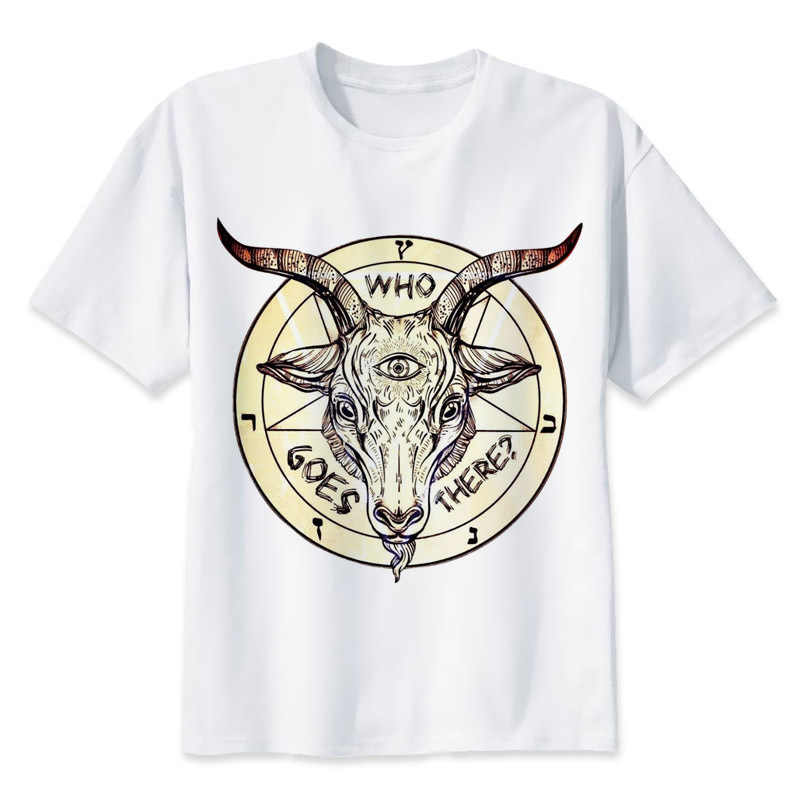 8b8415ab68144 Сатанизм сатана печати случайные футболки мужские футболки с круглым  вырезом Модные мужские топы Мужчины футболка с