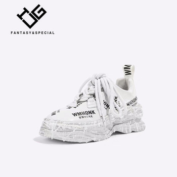 IGU 2019 Chunky Shoes Platform Split Leather Letter White Shoes Sneaker Women Fashion Brand Thick Sole Lady Footwear Sneakers