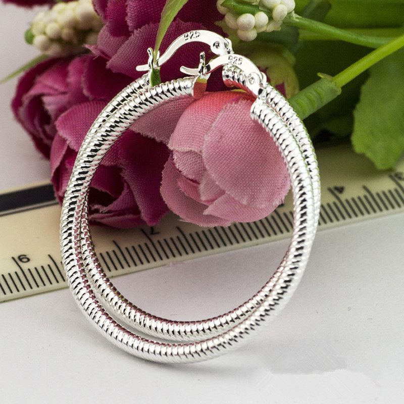 925 Sterling Silver Color Hoop Ear Ring ForWomen Large Luxury Design Good Quality Vintage Wedding Jewelry Size.40mm Eh001(China)