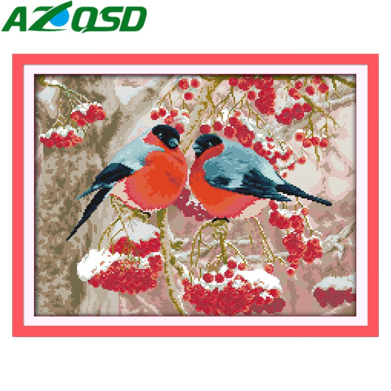 AZQSD Bullfinch Cross Stitch kits Pattern Printed On Canvas DMC 11CT 14CT Animal Needlework Set Embroidery d734Y