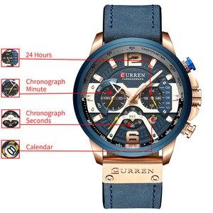 Image 5 - CURREN ספורט שעון גברים למעלה מותג יוקרה הכרונוגרף גברים שעונים עור אופנה קוורץ גבר שעון עמיד למים שעוני יד