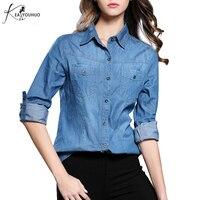 New 2017 Fashion Women Clothes Blouse Long Sleeves Denim Shirt Vintage Retro Blue Jeans Shirt Camisa