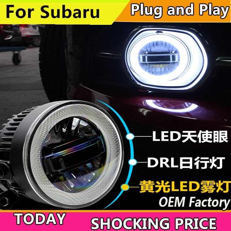 Car Styling for Subaru BRZ XV Impreza Forester LED Fog Light Auto Angel Eye Fog Lamp LED DRL 3 function model akd car styling fog light for subaru impreza drl led fog light led headlight 90mm high power super bright lighting accessories