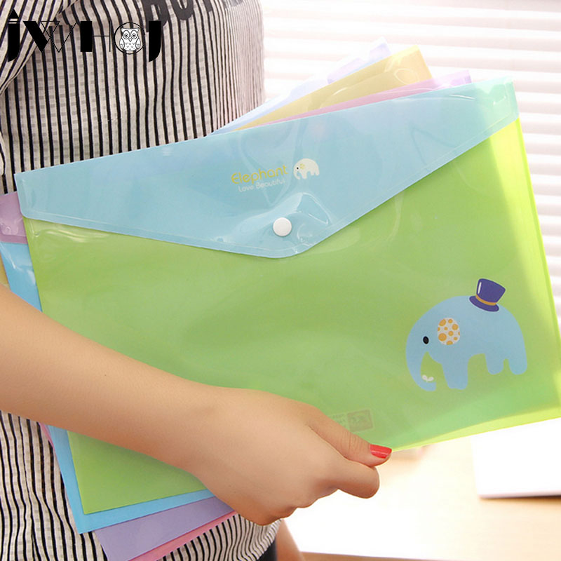 2 Pcs/lot Kawaii Elephant Multifunction PVC Snap Fastener Document Envelope Data Case School Supplies Stationery Free Shipping