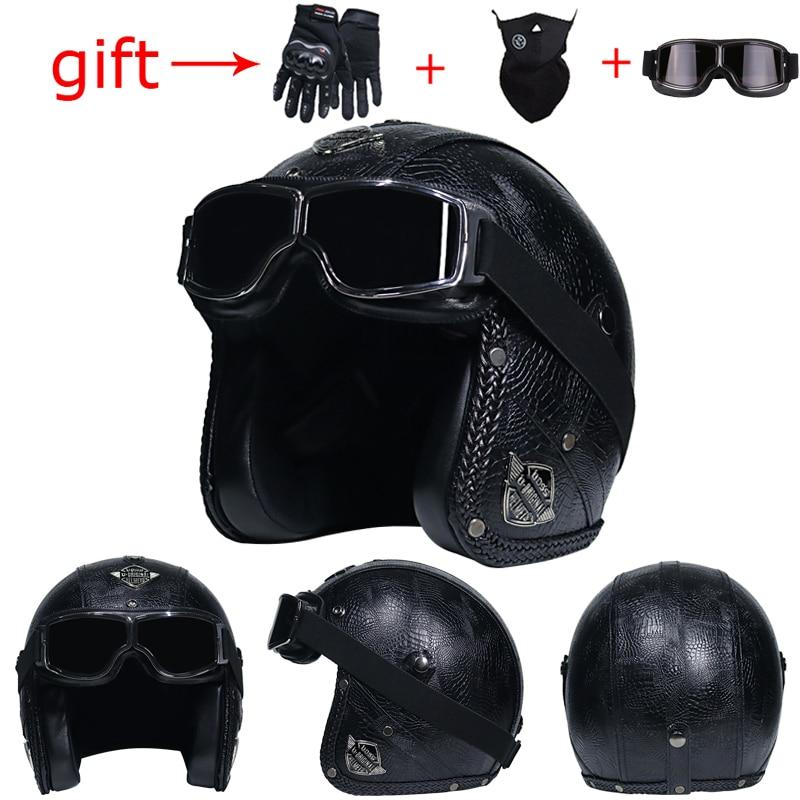 VOSS motorcycle helmet retro helmet Harley motorcycle knight helmet cafe racer 3/4 mask capacete casque moto