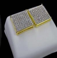 Микро pave AAA кубический цирконий 8*8 квадратная Корона cz золото отвертка золотые серьги для мужчин