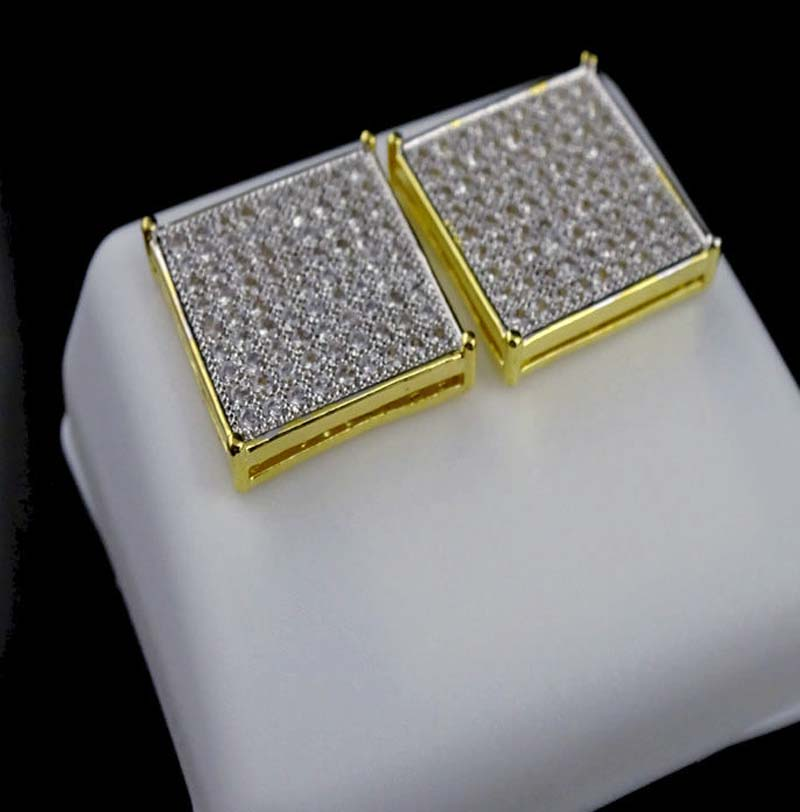 micro pave AAA cubic zirconia 8*8 square crown cz gold screwback gold men earring
