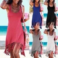 Women Summer Style Beach Dress Casual Sleeveless Vestidos Vest Tanks Bandage Female Women Dress Strap Solid
