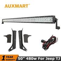 480W 50 Inch LED Light Bar Offroad CREE 5D Combo Beam Led Work Light 12V 24V