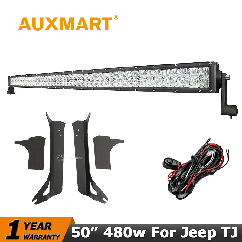 Auxmart 480W 50 inch LED Light Bar Offroad CREE Chips 5D Combo Beam Led Work Light Brackets for Jeep Wrangler TJ 1997-2006 52 inch 500w cree 4d led light bar 4x4 led work light offroad led bar combo beam driving lamp for jeep wrangler jk 2007 2015