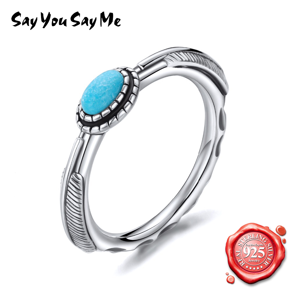 SAY YOU SAY ME 925 Sterling Silver Wedding Ring For Women Green Turquoise Gemstone Silver Rings