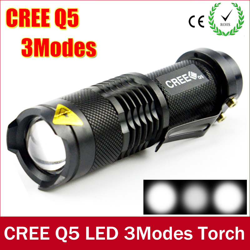 Mini Led Flashlight CREE Q5 1000LM Waterproof Lanterna ZOOMABLE LED Flashlight Torch black Light Fit For AA Or 14500 Battery