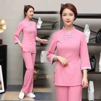 Health Club Work Clothing Female Teahouse Waitress Clothes Beauty Salon SPA Uniform 2piece Set Embroider DIY Logo Uniforms